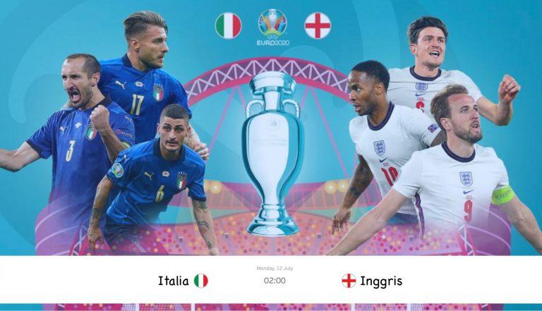 Hasil Euro 2021: Italia vs Inggris di Babak Final